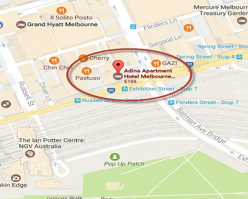 Location Map of Adina Apartment Hotel Melbourne, Flinders Street